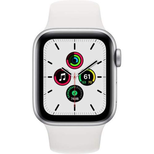 Apple Watch SE GPS, 40mm Silver Aluminium Case with White Sport Band - Regular (MYDM2GK/A)