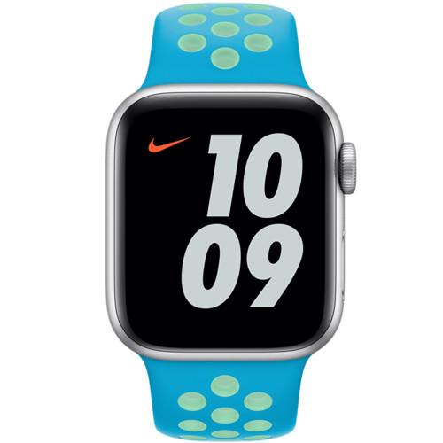 Аксессуары для смартфона Apple Ремешок 40mm Chlorine Blue/Green Glow Nike Sport Band - Regular (MJ6H3ZM/A)