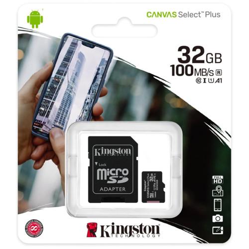 Флеш (Flash) карты Kingston 32GB micro SDHC Canvas Select Plus (SDCS2/32GB-3P1A)